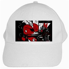 Red Black And White Abstraction White Cap by Valentinaart