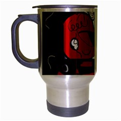 Red Black And White Abstraction Travel Mug (silver Gray)