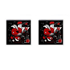 Red Black And White Abstraction Cufflinks (square)