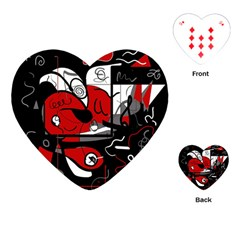 Red Black And White Abstraction Playing Cards (heart)