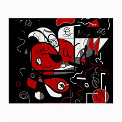 Red Black And White Abstraction Small Glasses Cloth (2 Side)