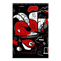 Red Black And White Abstraction Shower Curtain 48  X 72  (small)  by Valentinaart