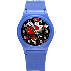 Red Black And White Abstraction Round Plastic Sport Watch (s) by Valentinaart