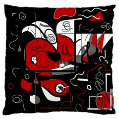 Red Black And White Abstraction Large Cushion Case (two Sides)