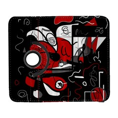 Red Black And White Abstraction Galaxy S3 (flip/folio) by Valentinaart