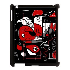 Red Black And White Abstraction Apple Ipad 3/4 Case (black)