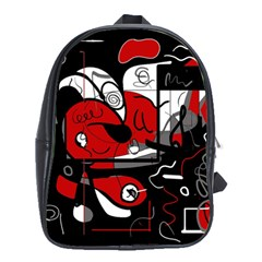 Red Black And White Abstraction School Bag (xl) by Valentinaart