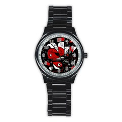 Red Black And White Abstraction Stainless Steel Round Watch