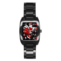 Red Black And White Abstraction Stainless Steel Barrel Watch by Valentinaart
