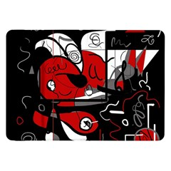 Red Black And White Abstraction Samsung Galaxy Tab 8 9  P7300 Flip Case by Valentinaart