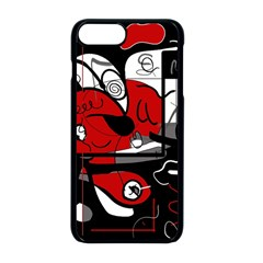Red Black And White Abstraction Apple Iphone 8 Plus Seamless Case (black)