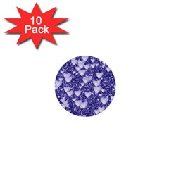 Hearts On Sparkling Glitter Print, Blue 1  Mini Buttons (10 Pack)  by MoreColorsinLife