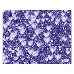 Hearts On Sparkling Glitter Print, Blue Rectangular Jigsaw Puzzl by MoreColorsinLife