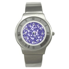 Hearts On Sparkling Glitter Print, Blue Stainless Steel Watch by MoreColorsinLife
