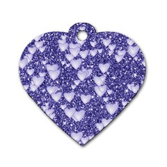 Hearts On Sparkling Glitter Print, Blue Dog Tag Heart (one Side) by MoreColorsinLife
