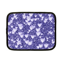 Hearts On Sparkling Glitter Print, Blue Netbook Case (small)  by MoreColorsinLife