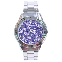 Hearts On Sparkling Glitter Print, Blue Stainless Steel Analogue Watch by MoreColorsinLife