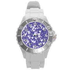 Hearts On Sparkling Glitter Print, Blue Round Plastic Sport Watch (l) by MoreColorsinLife
