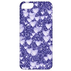 Hearts On Sparkling Glitter Print, Blue Apple Iphone 5 Classic Hardshell Case by MoreColorsinLife