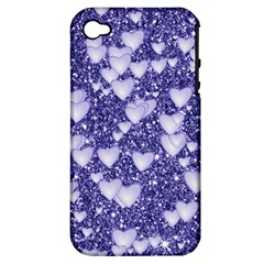 Hearts On Sparkling Glitter Print, Blue Apple Iphone 4/4s Hardshell Case (pc+silicone) by MoreColorsinLife