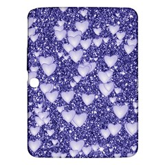 Hearts On Sparkling Glitter Print, Blue Samsung Galaxy Tab 3 (10 1 ) P5200 Hardshell Case  by MoreColorsinLife