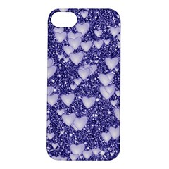 Hearts On Sparkling Glitter Print, Blue Apple Iphone 5s/ Se Hardshell Case by MoreColorsinLife