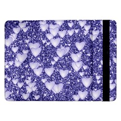 Hearts On Sparkling Glitter Print, Blue Samsung Galaxy Tab Pro 12 2  Flip Case by MoreColorsinLife
