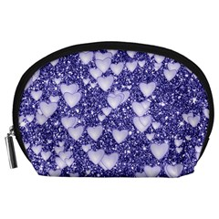 Hearts On Sparkling Glitter Print, Blue Accessory Pouches (large)  by MoreColorsinLife
