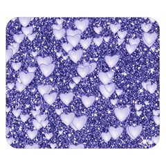 Hearts On Sparkling Glitter Print, Blue Double Sided Flano Blanket (small)  by MoreColorsinLife