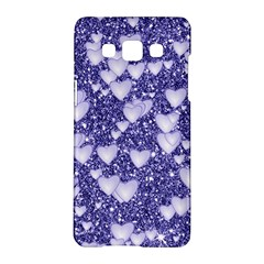 Hearts On Sparkling Glitter Print, Blue Samsung Galaxy A5 Hardshell Case