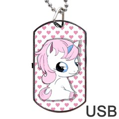 Baby Unicorn Dog Tag Usb Flash (two Sides) by Valentinaart