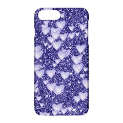Hearts On Sparkling Glitter Print, Blue Apple Iphone 8 Plus Hardshell Case by MoreColorsinLife