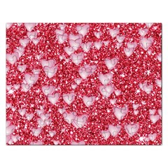 Hearts On Sparkling Glitter Print, Red Rectangular Jigsaw Puzzl by MoreColorsinLife