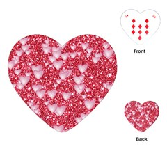 Hearts On Sparkling Glitter Print, Red Playing Cards (heart)  by MoreColorsinLife