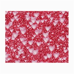 Hearts On Sparkling Glitter Print, Red Small Glasses Cloth (2-side) by MoreColorsinLife