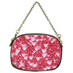 Hearts On Sparkling Glitter Print, Red Chain Purses (one Side)  by MoreColorsinLife