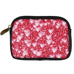 Hearts On Sparkling Glitter Print, Red Digital Camera Cases