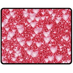 Hearts On Sparkling Glitter Print, Red Fleece Blanket (medium)  by MoreColorsinLife