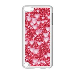 Hearts On Sparkling Glitter Print, Red Apple Ipod Touch 5 Case (white) by MoreColorsinLife