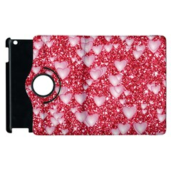 Hearts On Sparkling Glitter Print, Red Apple Ipad 2 Flip 360 Case by MoreColorsinLife