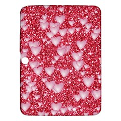 Hearts On Sparkling Glitter Print, Red Samsung Galaxy Tab 3 (10 1 ) P5200 Hardshell Case  by MoreColorsinLife