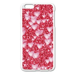 Hearts On Sparkling Glitter Print, Red Apple Iphone 6 Plus/6s Plus Enamel White Case