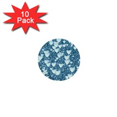 Hearts On Sparkling Glitter Print, Teal 1  Mini Buttons (10 Pack)  by MoreColorsinLife