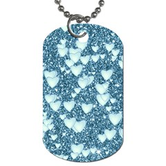 Hearts On Sparkling Glitter Print, Teal Dog Tag (two Sides) by MoreColorsinLife