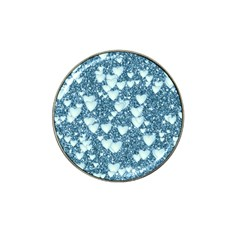 Hearts On Sparkling Glitter Print, Teal Hat Clip Ball Marker by MoreColorsinLife