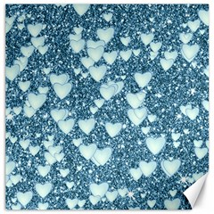 Hearts On Sparkling Glitter Print, Teal Canvas 20  X 20   by MoreColorsinLife