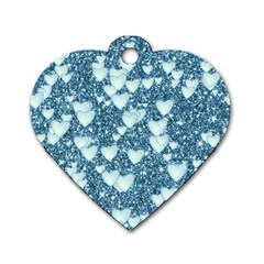 Hearts On Sparkling Glitter Print, Teal Dog Tag Heart (one Side) by MoreColorsinLife