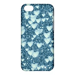 Hearts On Sparkling Glitter Print, Teal Apple Iphone 5c Hardshell Case by MoreColorsinLife