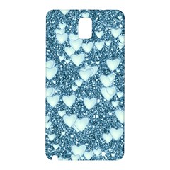 Hearts On Sparkling Glitter Print, Teal Samsung Galaxy Note 3 N9005 Hardshell Back Case by MoreColorsinLife