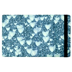 Hearts On Sparkling Glitter Print, Teal Apple Ipad Pro 12 9   Flip Case by MoreColorsinLife